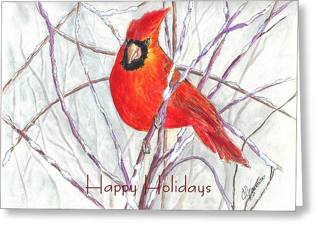 Happy Holidays Snow Cardinal Greeting Card