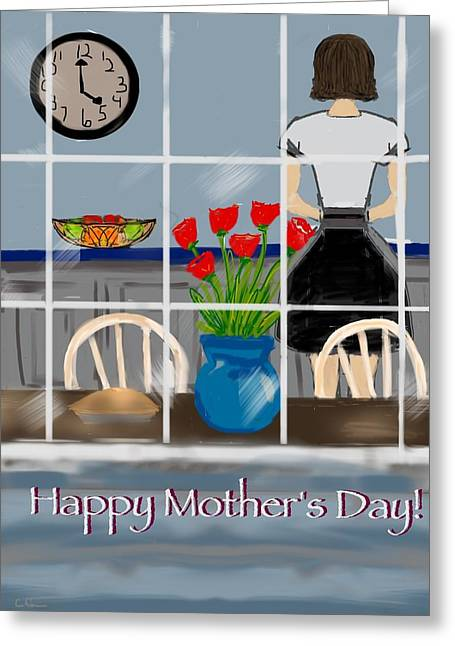 Greeting Card featuring the digital art Happy Homemaker by Christine Fournier