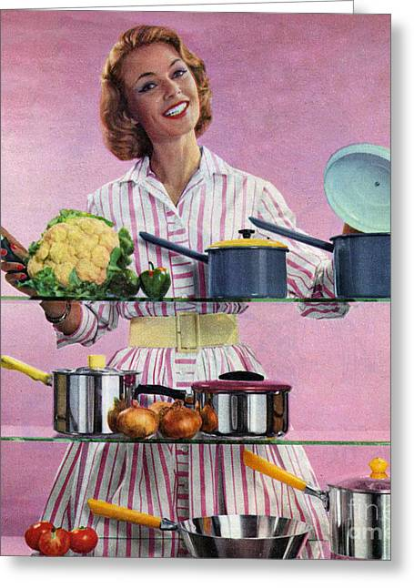 Happy Housewife In Kitchen 1960s Uk Greeting Card