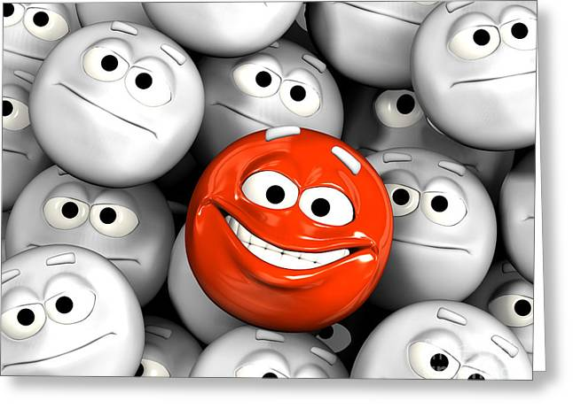 Happy Laughing Emoticon Face Among Others Greeting Card by Michal Bednarek
