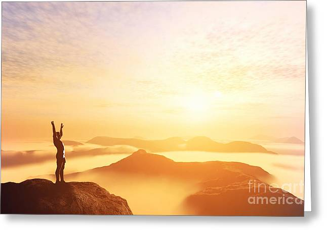Happy Man With Hands Up On The Top Of The World Above Clouds Greeting Card by Michal Bednarek