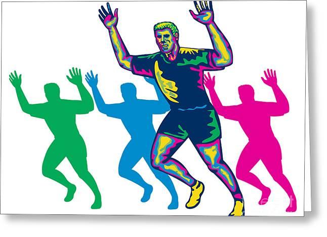 Happy Marathon Runner Running Retro Greeting Card by Aloysius Patrimonio