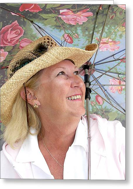 Happy Mature Woman Greeting Card by Maria Dryfhout