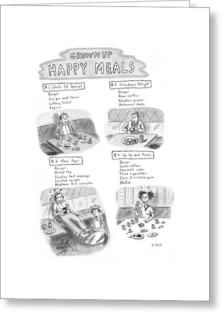 'happy Meals For Grown Ups' Greeting Card by Roz Chast