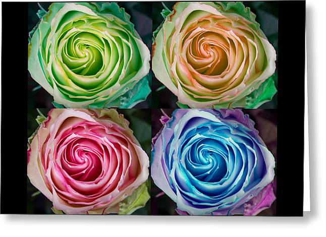 Happy Mothers Day Hugs Kisses And Colorful Rose Spirals Greeting Card by James BO  Insogna