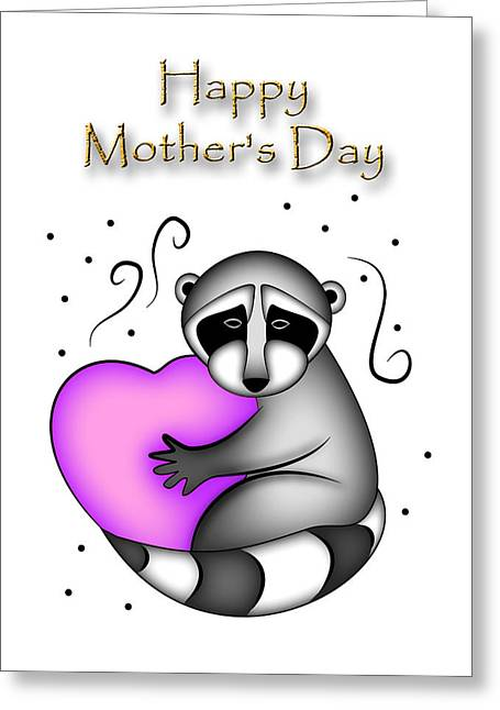 Happy Mother's Day Raccoon Greeting Card by Jeanette K