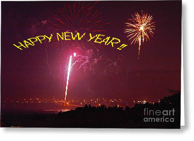 Greeting Card featuring the photograph happy New Year fireworks by Gary Brandes