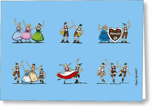 Happy Oktoberfest Cartoon People Greeting Card