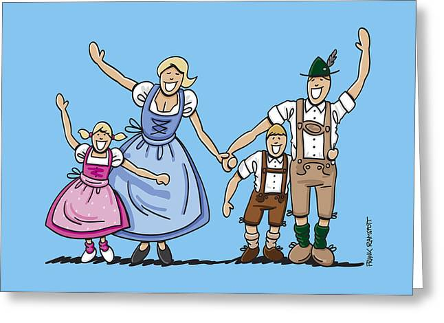 Happy Oktoberfest Family Waving Hands Greeting Card by Frank Ramspott