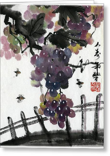 Greeting Card featuring the painting Longgevity And Prospevity by Ping Yan