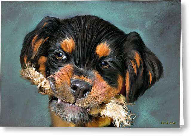 Happy Puppy Greeting Card by Angela A Stanton