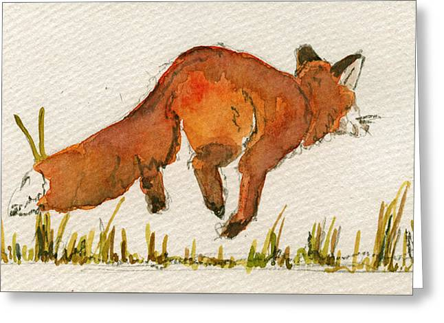 Happy Red Fox Greeting Card by Juan  Bosco