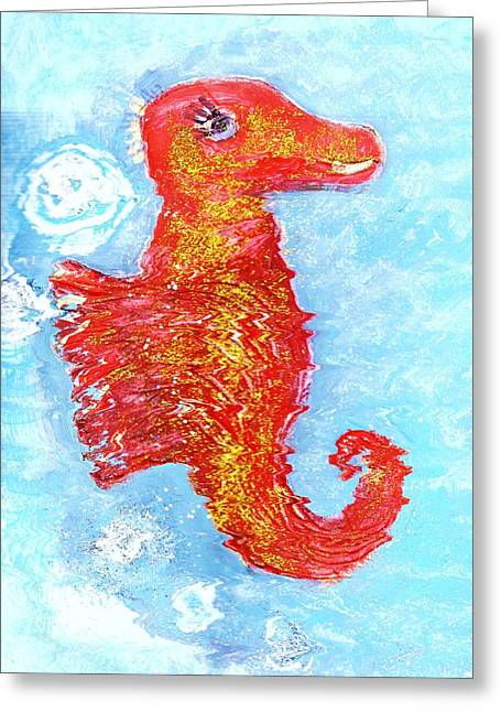 Happy Seahorse Work In Progress Greeting Card by Anne-Elizabeth Whiteway