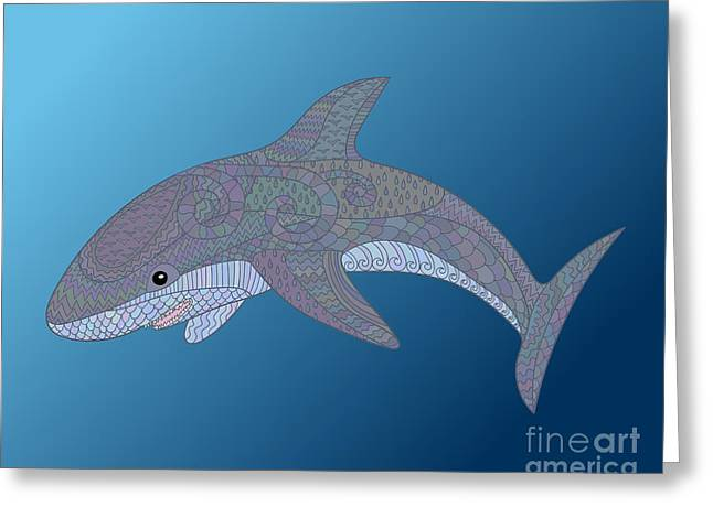 Happy Shark With High Details. Colored Greeting Card