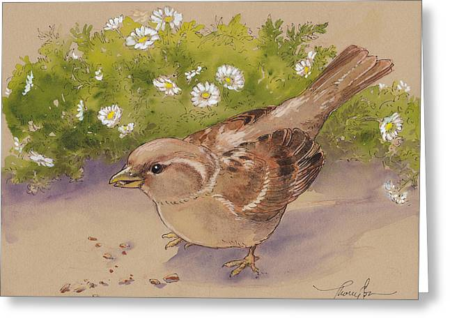 Happy Sparrow 5 Greeting Card by Tracie Thompson