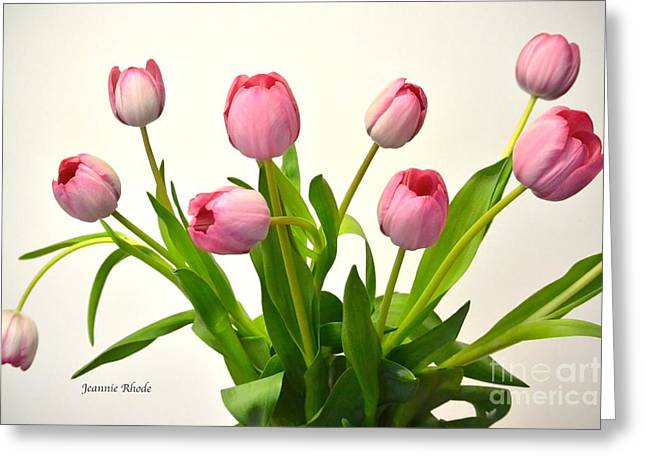 Greeting Card featuring the digital art Happy Spring Pink Tulips 2 by Jeannie Rhode