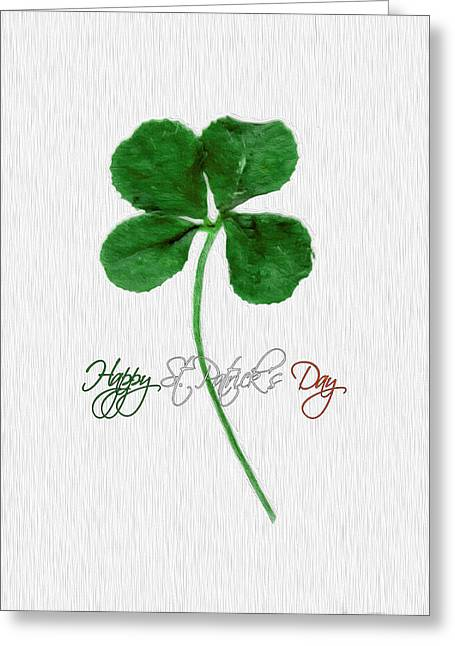 Happy St. Patrick's Day 4 Leaf Clover Greeting Card