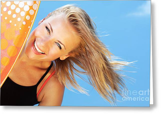 Happy Surfer Beautiful Teen Girl Greeting Card
