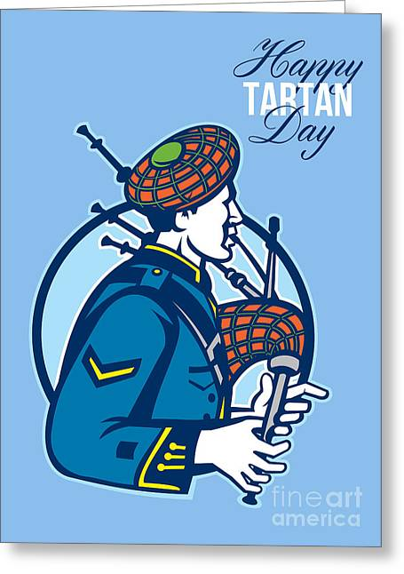 Happy Tartan Day Bagpiper Greeting Card Greeting Card