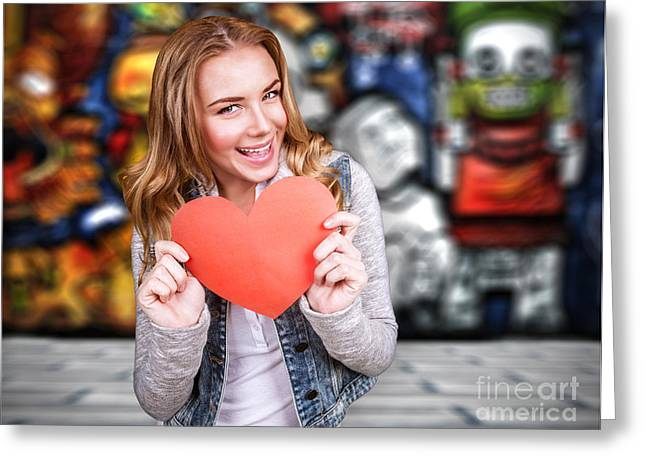 Happy Teen Girl In Love Greeting Card by Anna Om