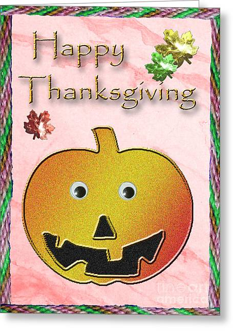 Happy Thanksgiving Pumpkin  Greeting Card by Jeanette K
