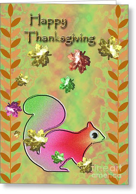 Happy Thanksgiving Squirrel Greeting Card by Jeanette K