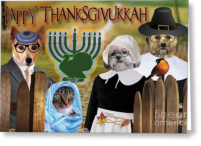 Happy Thanksgivukkah -1 Greeting Card by Kathy Tarochione