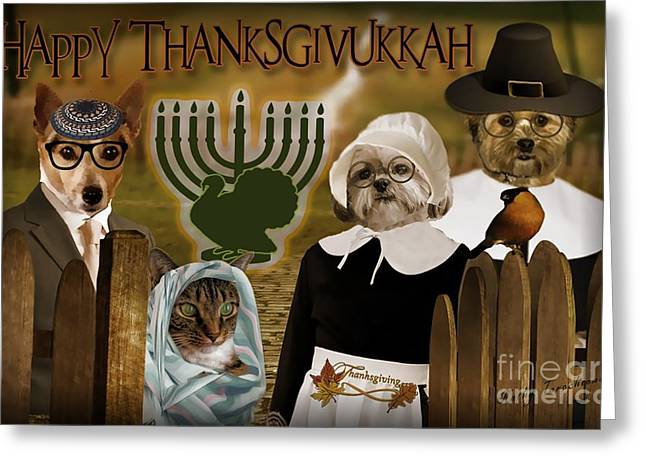 Greeting Card featuring the digital art Happy Thanksgivukkah -4 by Kathy Tarochione