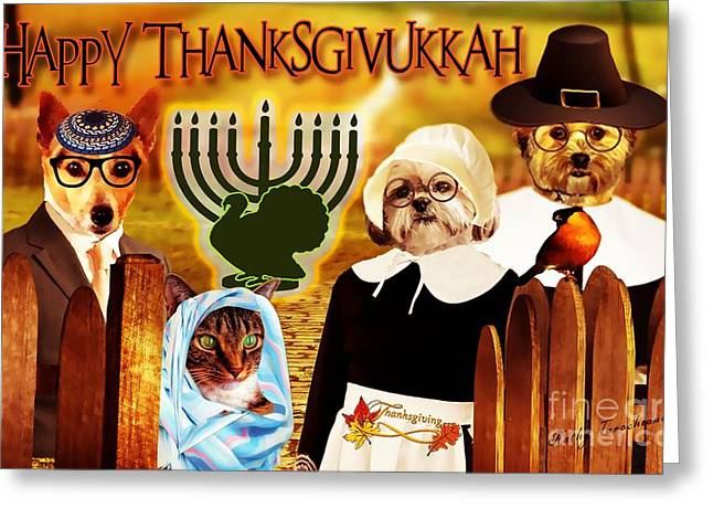Greeting Card featuring the digital art Happy Thanksgivukkah -5 by Kathy Tarochione