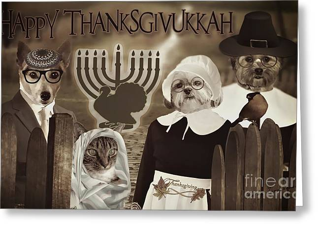 Greeting Card featuring the digital art Happy Thanksgivukkah -6 by Kathy Tarochione