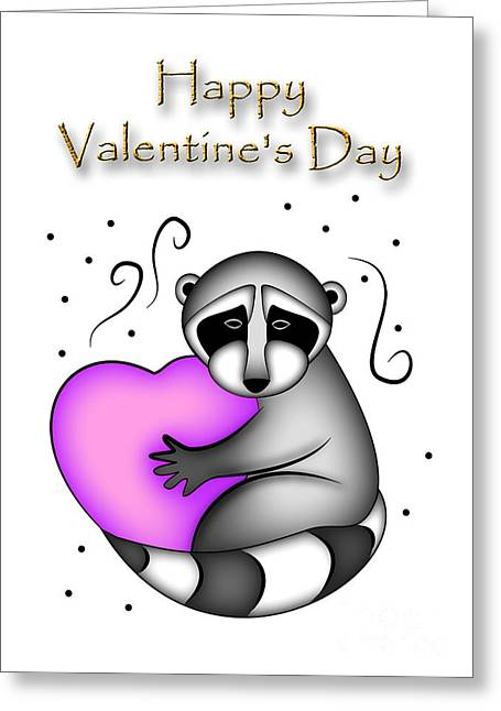 Happy Valentine's Day Raccoon Greeting Card by Jeanette K