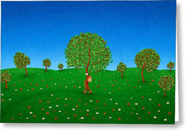 Happy Walking Tree Greeting Card by Gianfranco Weiss