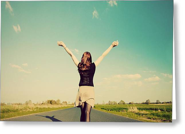 Happy Woman Standing On Empty Road Retro Vintage Style Greeting Card by Michal Bednarek