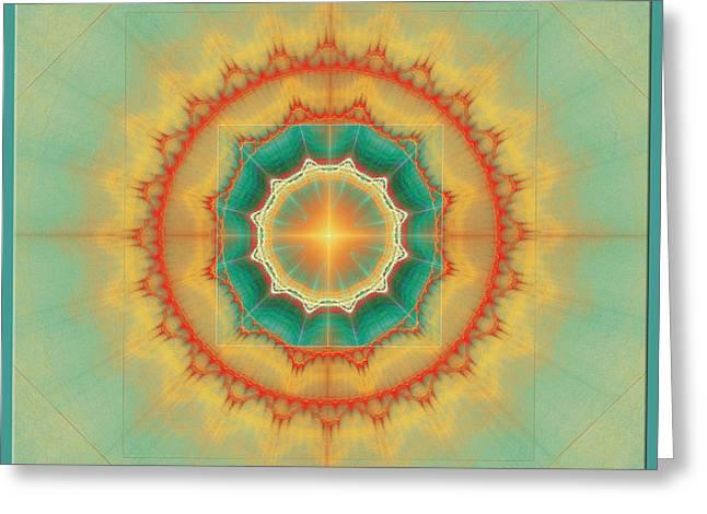 Happyness - Mandala Greeting Card by Klara Acel