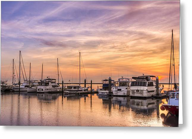 Harbor At Jekyll Island Greeting Card by Debra and Dave Vanderlaan