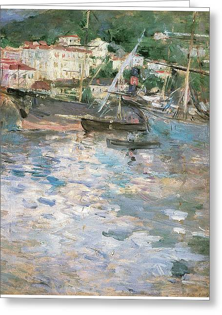 Harbor At Nice Greeting Card by Berthe Morisot