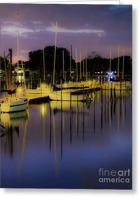 Harbor At Night Greeting Card