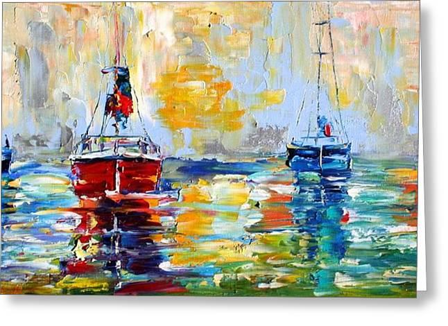 Harbor Boats At Sunrise Greeting Card by Karen Tarlton