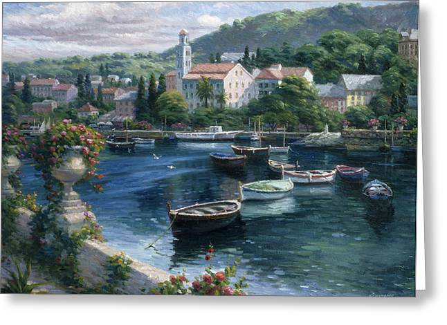 Harbor Boats Greeting Card by Ghambaro