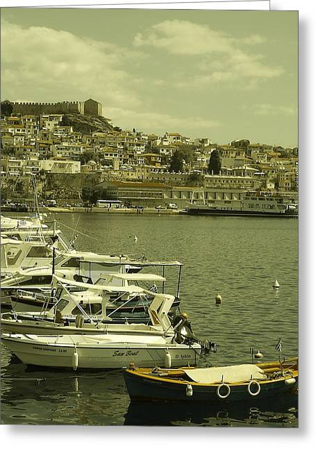 Greeting Card featuring the photograph Harbor Boats In Kavala Greece by Tamyra Crossley