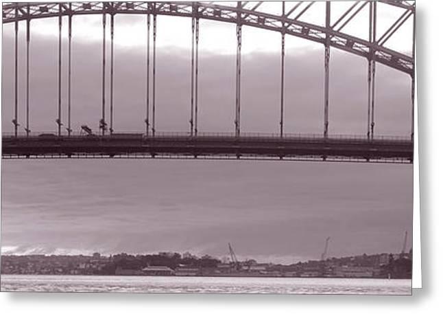 Harbor Bridge, Pacific Ocean, Sydney Greeting Card by Panoramic Images