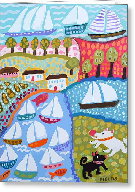 Harbor Dog Park Greeting Card by Karen Fields