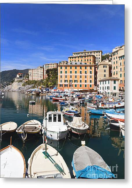 harbor in Camogli - Italy Greeting Card by Antonio Scarpi