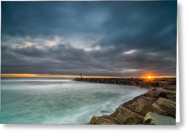 Harbor Jetty Sunset Greeting Card