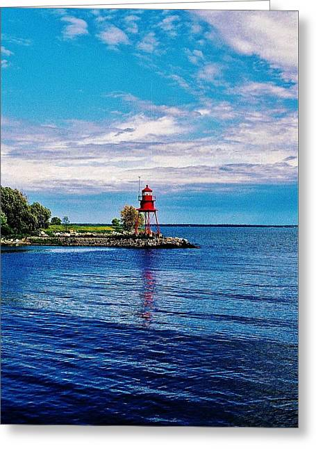 Greeting Card featuring the photograph Harbor Light by Daniel Thompson