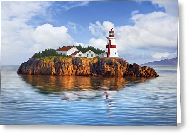 Harbor Light Greeting Card by James Charles