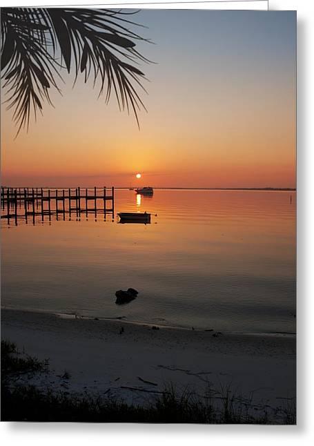 Harbor Sunrise Greeting Card by Regina  Williams