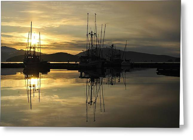 Greeting Card featuring the photograph Harbor Sunset by Cathy Mahnke