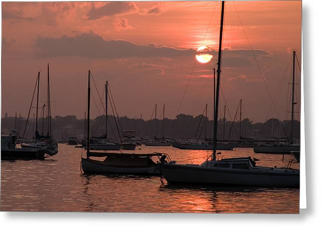 Harbor Sunset Greeting Card by Jeff Folger