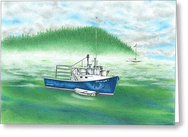 Greeting Card featuring the drawing Harbor by Troy Levesque